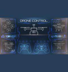 hud ui for drones uav unmanned quadrocopter vector image