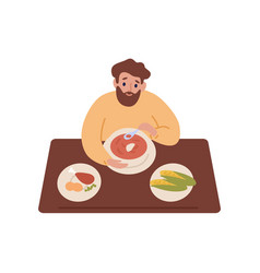 Hungry bearded man eating soup sit at table in vector