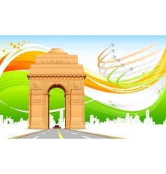 India Gate on Tricolor Background vector