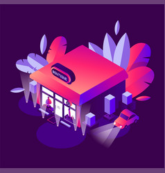 Isometric building with greenery night sxene in vector