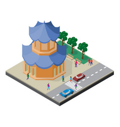Isometric east asia cityscape pagoda roadway vector