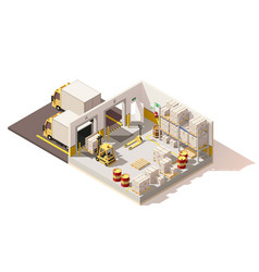 isometric low poly warehouse vector image