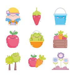 kawaii gardening cartoon characters tools vector image