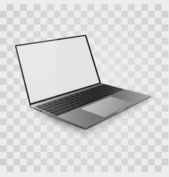 laptop mock up open with white screen vector image