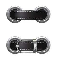 Leather belt passed through metal rings vector