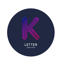 Letter k latin alphabet display vector