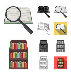 Library and bookstore cartoonblackflat vector
