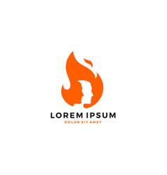 Man fire flame logo vector