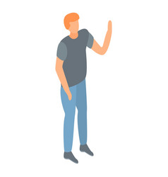 Man hand up icon isometric style vector