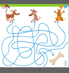 Maze game with cartoon dogs and bone vector