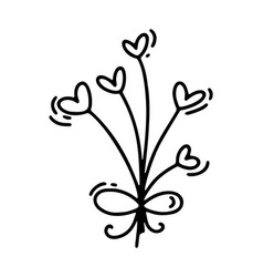 monoline flowers with hearts valentines vector image