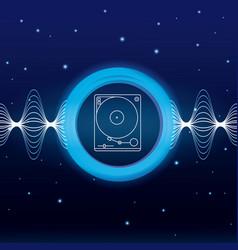 Music waves digital emblem vector