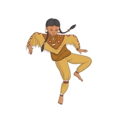 native american dancing indian girl in vector image