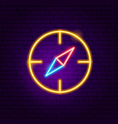 Navigation compass neon sign vector