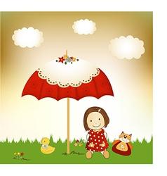 New baby invitation with umbrella vector