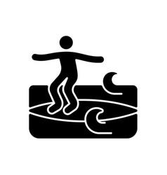 Noseriding surfing technique black glyph icon vector