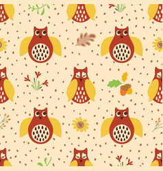 owl hand drawn seamless pattern autumn background vector image