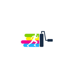 paint run logo icon design vector image