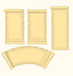 Papyrus scrolls set aged blank paper scroll vector
