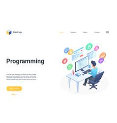 people programming isometric landing page coder vector image