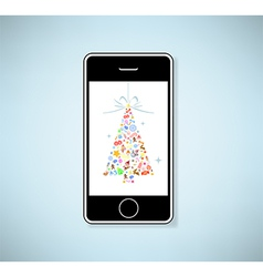 Phone and christmas tree icon for christmas card vector