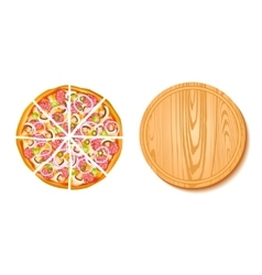 Pieces of pizza and the board composition vector