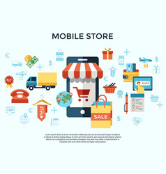 printdigital line icons set mobile shopping vector image