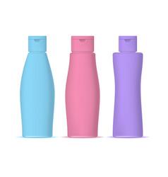 realistic detailed 3d color shampoo bottles set vector image