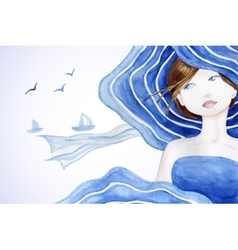 Rerto styled beautiful woman on sea backdround vector