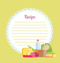 Round empty list for homemade dish recipe vector