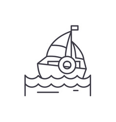 sailing line icon concept sailing linear vector image