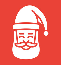 santa claus face glyph icon new year christmas vector image