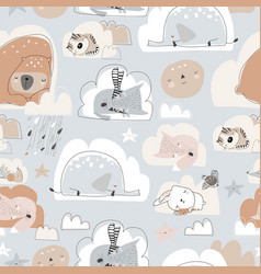 seamless pattern with cute cartoon animals vector image