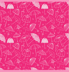 seamless pattern with umbrellas on pink background vector image