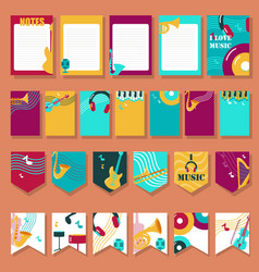 set of cards with musical instruments and vector image