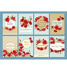 Set of summer hand drawn floral vintage cards vector