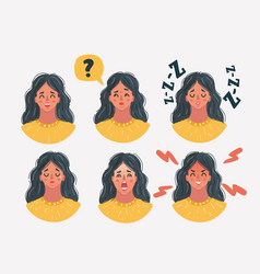 Set womans emotions facial expression vector