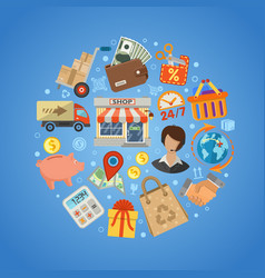 shopping and delivery concept vector image