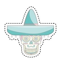 Skull mask mexican culture vector