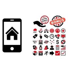 Smartphone Homepage Flat Icon with Bonus vector