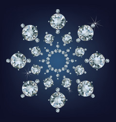Snowflake made a lot of from diamonds vector