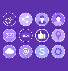 social network gears set vector image