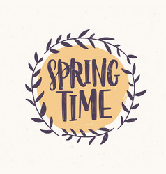 Springtime word written with elegant font inside vector