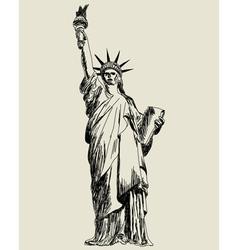Statue liberty sketch vector