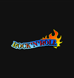 Text rock n roll and tongue of burning flame vector