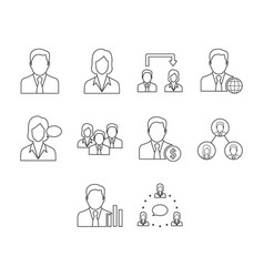 Thin line business people icon set vector