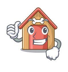 thumbs up cartoon dog house and bone isolated vector image