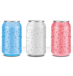 Tin cans in white pink blue with water drops vector