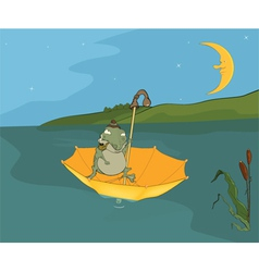 Travel of a frog Cartoon vector image