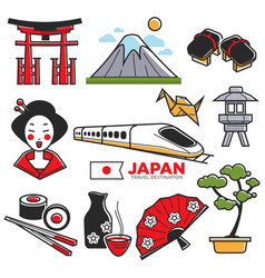 Travel to japan touristic map with traditional vector